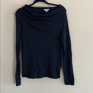 James Perse 2 small grey off shoulder long sleeve